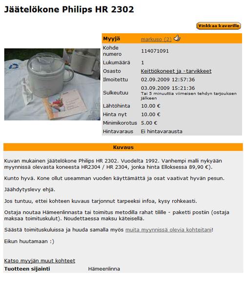 Myydään jäätelökone Philips HR 2302 - myynti-ilmoitukseni Huuto.net:ssä