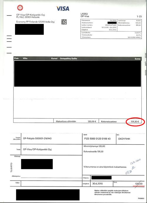 OP-Visan luottokorttilasku (kokonaissaatava ympyröity)