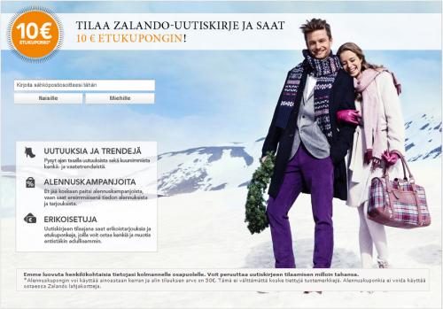 Zalando tarjoaa uutiskirjeensä tilaajille 10 euron alennuskoodin 50eb8fcf5e