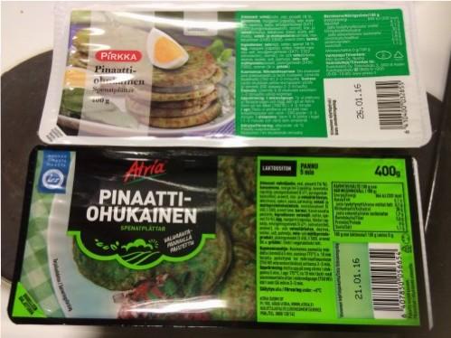 Kuva 3. Pakkausten paino on sama, 400 grammaa kummassakin