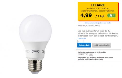 Ikean Ledare LED-lamppu