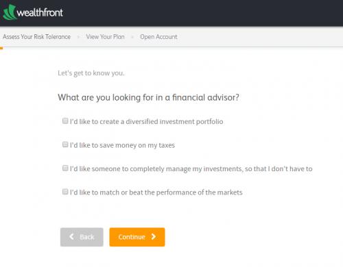 Wealthfrontin riskitoleranssikyselyn ensimmäinen kysymys